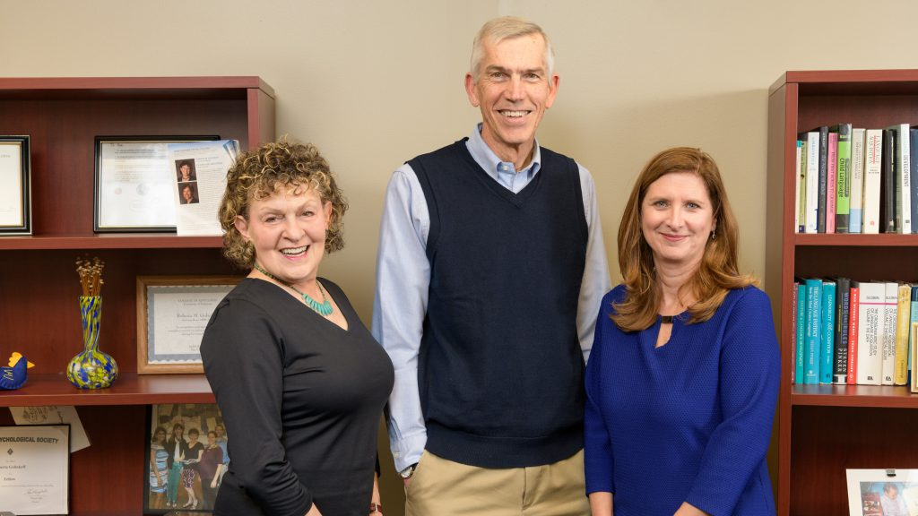 Three University of Delaware School of Education professors are 2019 AERA Fellows. From left to right: Roberta Michnick Golinkoff, James Hiebert, and Laura Desimone